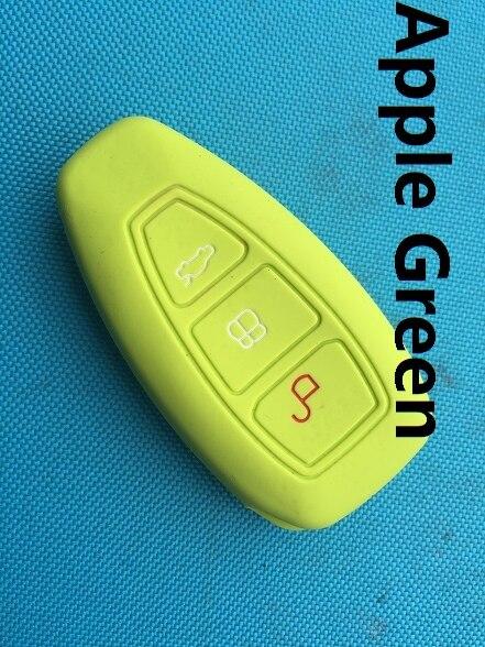 1 шт. 3 кнопки силиконовый чехол для ключей от машины чехол для Ford Focus 3 MK3 Mondeo Fiesta Kuga Escape Ecosport 2013 Smart Car style - Название цвета: Apple Green