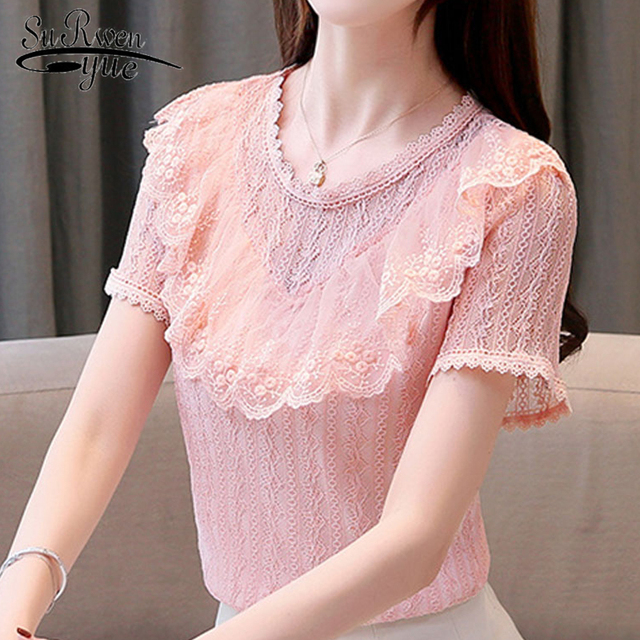 a87be88888afcb Ruffes Hollow Out Lace Blouse Women Tops and Blouses Summer Short Sleeve Ladies  Tops Plus Size White Blouse Women Shirts 4741 50