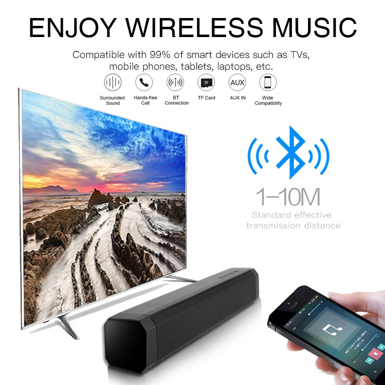 10W TV Soundbar Bluetooth speaker FM Radio home theater system portable wireless subwoofer bass MP3 Music boombox-in Soundbar from Consumer Electronics
