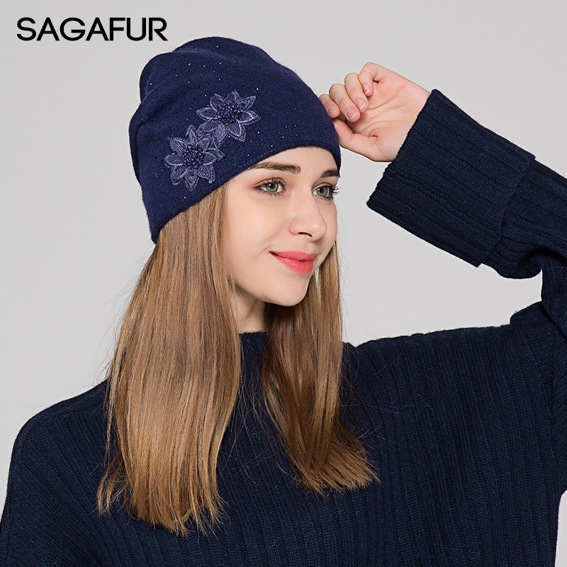 d28cca91de1 Thick Winter Knitted Hat Female 2018 Fashion Warm Cap Women s Cotton Wool  Bonnet Embroidery Flower Rhinestones Beanies For Lady-in Skullies   Beanies  from ...