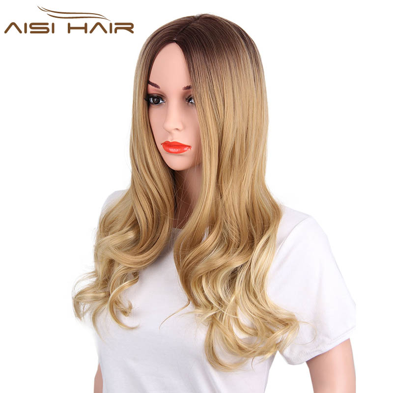 Is a wig Synthetic Ombre Wigs for Black Women Long Wavy Dark Brown to Blonde Two Tone Heat Resistant Fiber Hair