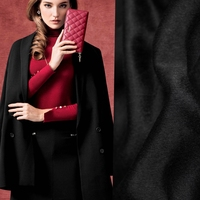 Width 180cm Limited Classic Black Mulberry Silk Double Sided Cashmere Fabric For Coat Plush Fabrics Tissu