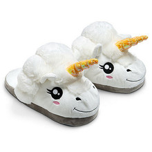 Winter Plush Unicorn Slippers Cute Funny Men Adult Slippers Women Home Shoes Warm Cotton With Heel Pantufas Zapatillas Unicornio