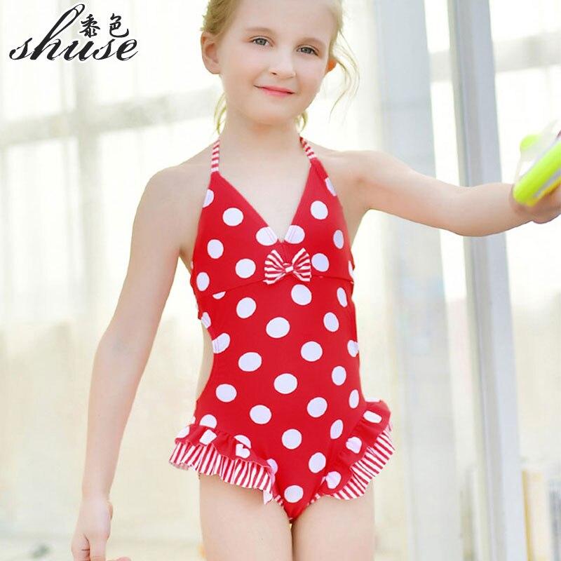 Little Girl Swimwearbaby Girls Swimsuit Cute Polka Dots One Piece