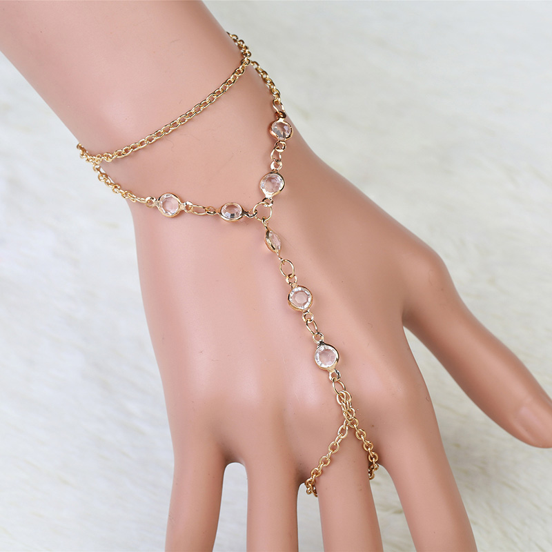 Multilayer Tassel Slave Finger Harness Hand Chains Jewelry Crystal Bracelets Bangles Women Statement Accessories 3B359