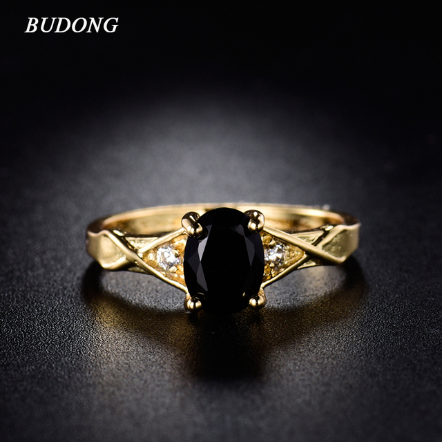 BUDONG Fashion Band 2017 Yellow Gold Color Rings Party Oval Cut Ring Luxury Black Zirconia Crystal Ring for Women Jewelry R097