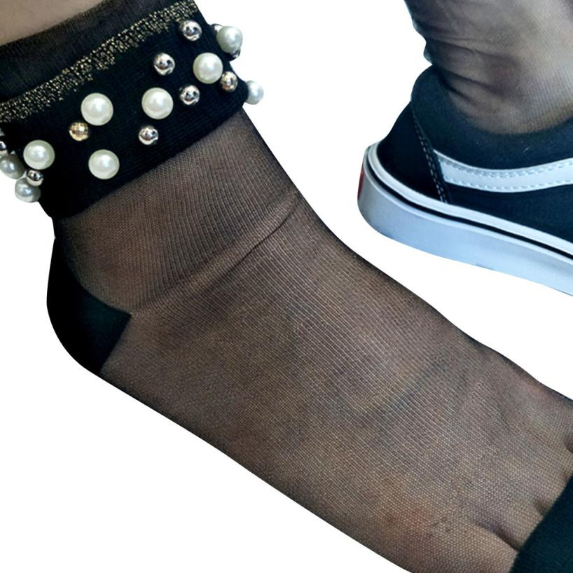 Happy Socks cotton Thin Striped Short Stocks Transparent Crystal Silk Tube Female Socks Mar 27