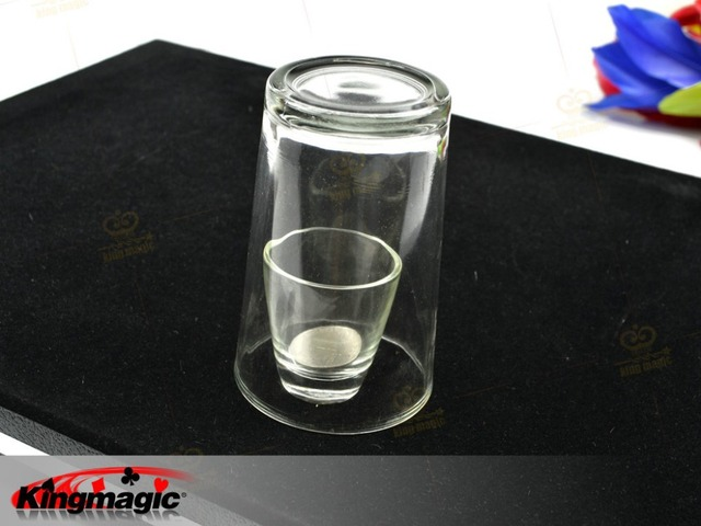 magic props Coin thru/in Glass Table Tray/The Table With Coin Penetration Cup magic tricks magia