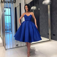 Mbcullyd Sweetheart Royal Blue Bridesmaid Dresses Short Knee Length Wedding Party  Dress For Women Ball Gown b5ac890d07eb