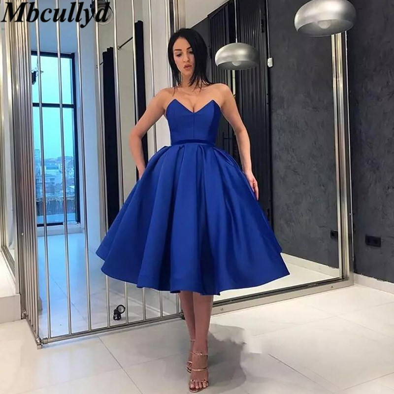Mbcullyd Sweetheart Royal Blue   Bridesmaid     Dresses   Short Knee Length Wedding Party   Dress   For Women Ball Gown Vestidos de fiesta