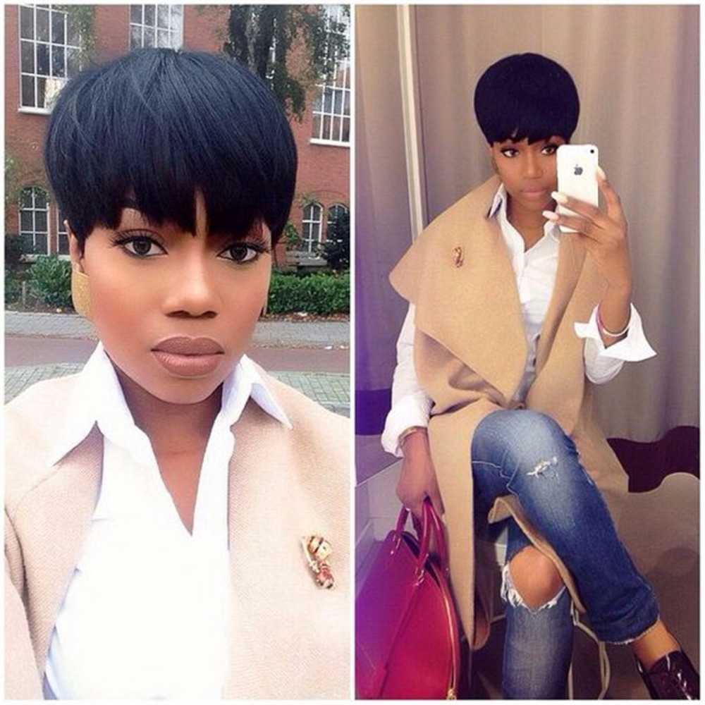 Element Pixie Cut Extra Short Wig 6 Inch Synthetic Black Wigs Blend