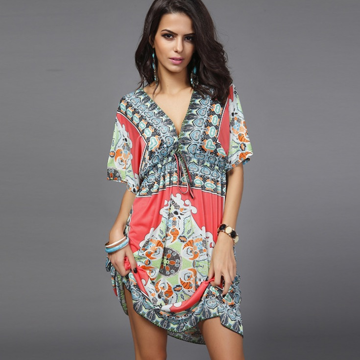 595117baf0 Boho Women Dress Sexy Sundresses Deep V Ethnic Floral Dashiki Print Tunic Beach  Dresses Big Size 2XL