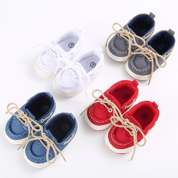 Infants Baby Boys Girls Soft Soled Crib Shoes Laces Up Canvas Sneaker First Walkers 0-12Month 1