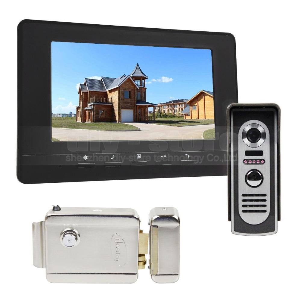 DIYSECUR Electric Lock 7inch Video Intercom Video Door Phone IR Night Vision Outdoor Camera Black 1v1