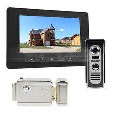 DIYSECUR Cerradura Eléctrica 7 inch Video Portero 1v1 Videoportero Cámara de INFRARROJOS de Visión Nocturna Al Aire Libre Negro
