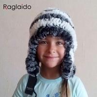 Raglaido Real Fur Hats For Girls Rabbit Fur Cap With Ears Fur Hat Female Winter Rex
