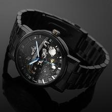 2016 Nueva Llegada de Los Hombres del Reloj Mecánico de Acero Negro Marca Hollow Skeleton Dial Relojes de Pulsera WE166DE