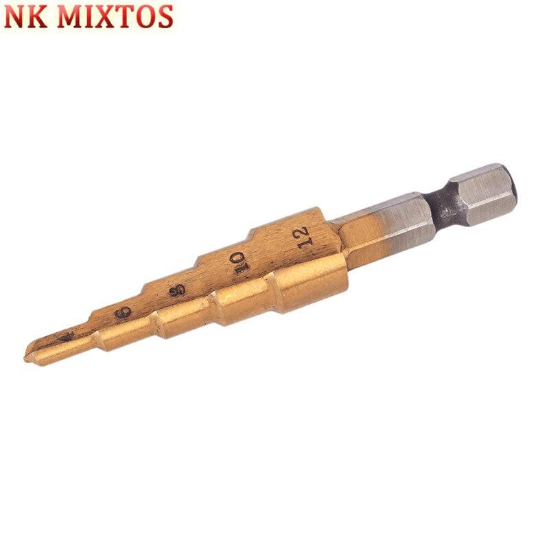 New Hot 1PCS HSS Steel Step Drill Cone Drill Titanium Bit  Hexagonal Shank 4-12mm Step Drill Bit Tool Hole 4-12mm wlxy wl 7203 4 12mm hss step drill bit golden