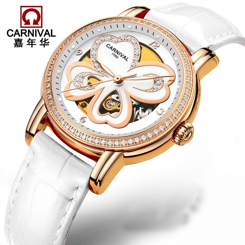 Switzerland Carnival Luxury Brand Watches Women Automatic Mechanical Wristwatches Sapphire Waterproof relogio feminino C8032-3 moers 3tm relogio mj8010 3