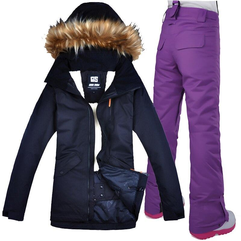 Gsou combinaison de Ski de neige veste de Ski femme veste de neige femme veste de Snowboard sangle pantalon de Ski coupe-vent imperméable vêtements de Ski