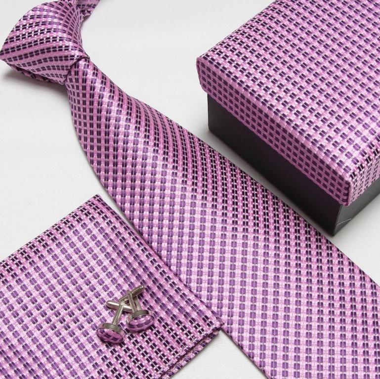 Мужская мода высокого качества захват набор галстуков галстуки запонки шелковые галстуки Запонки карманные носовой платок - Цвет: 16