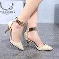 2016 Spring New Fashion Pointed Stiletto High-heeled Pumps Buckle Office Shoes Black Beige