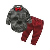 Baby Boy Clothes Newborn Clothing Sets Broad Cloth Baby Brand Gentleman Fashion Plaid T shirt + Jeans 2Pcs/set