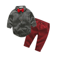 Baby Boy Clothes Newborn Clothing Sets Broad Cloth Baby Brand Gentleman Fashion Plaid T shirt + Jeans 2Pcs/set
