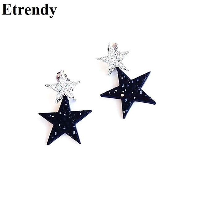 Элегантный Черный Lucky Star Серьги Для Женщин Bijoux Оптовая Продажа Ювелирных изделий Милый Рождественский Подарок Все Матч