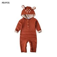 Оптовая продажа 2017 Осень трикотажные для маленьких мальчиков и девочек комплект одежды с длинными рукавами с рисунком оленя для новорожденных комбинезон Roupas de Bebe