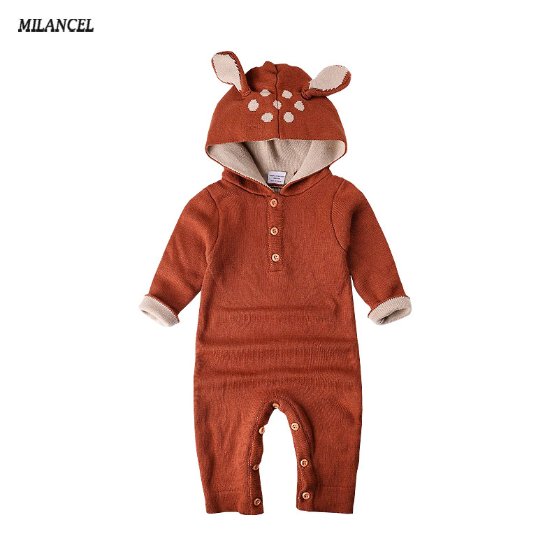 Wholesale 2018 Knitted baby boys girls clothes set long-sleeve Reindeer Newborn baby Romper jumpsuit roupas de bebe puseky 2017 infant romper baby boys girls jumpsuit newborn bebe clothing hooded toddler baby clothes cute panda romper costumes