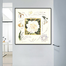 Vintage style peony flower stamp wall art canvas painting poster and prints Oil paintings for livingroom home decoration Framed