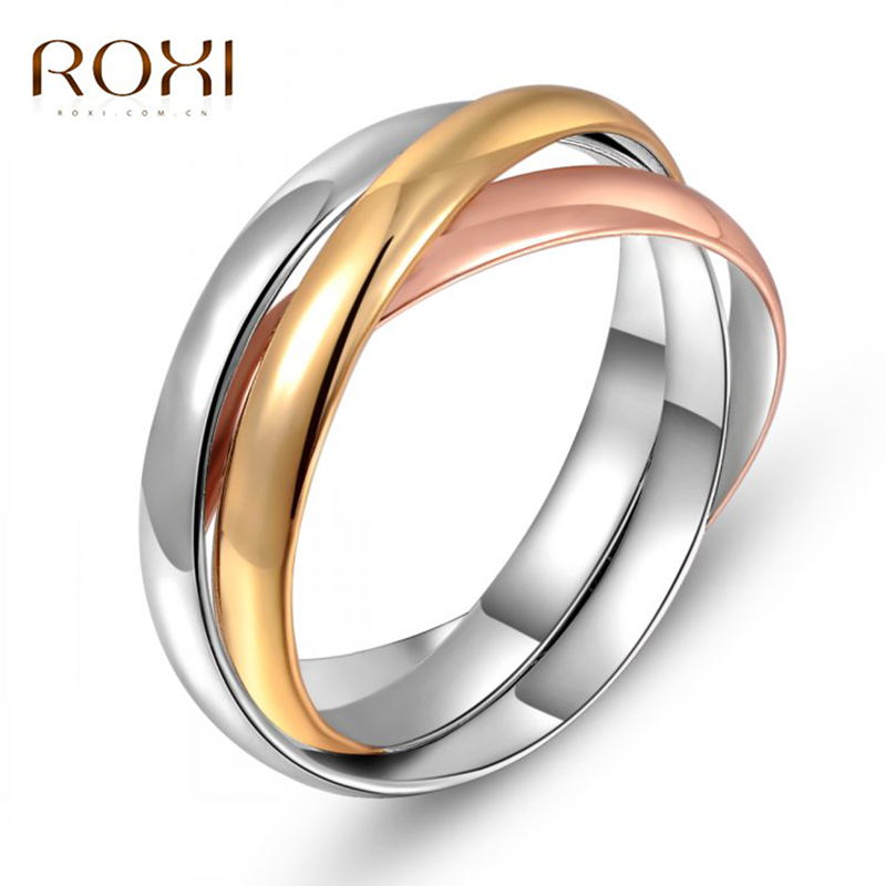 2017 ROXI Brand Three Circle Intersect Design Engagement Crystal Rings Rose Gold Color Wedding Jewelry Romantic Mothers Gift