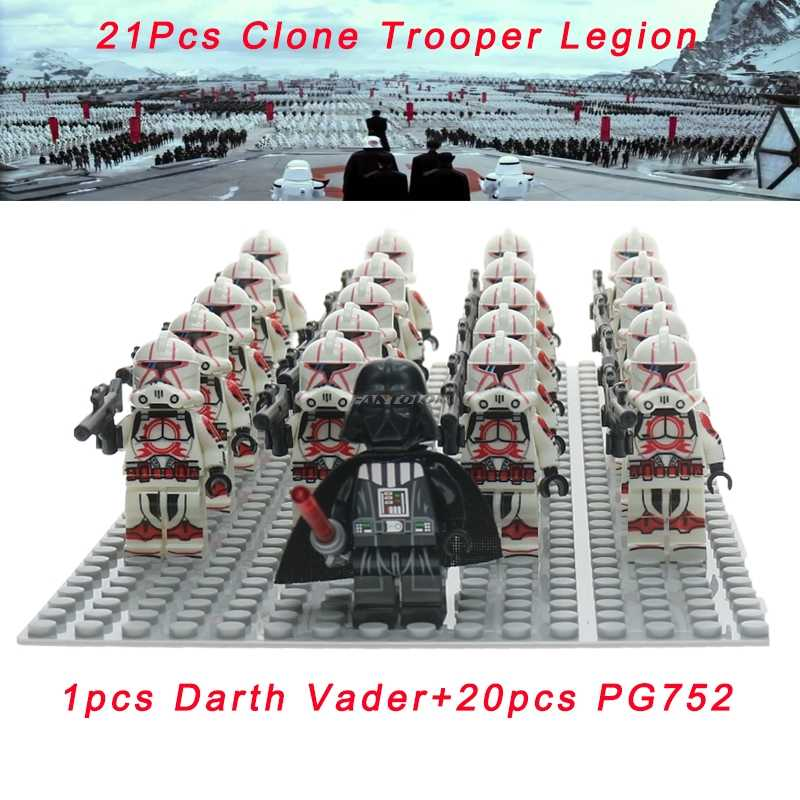 21 pz/set Legoelys star Wars Clone Trooper Darth Vader Stormtooper star wars Rebel Trooper Snowtrooper Building Block SENZA BASE