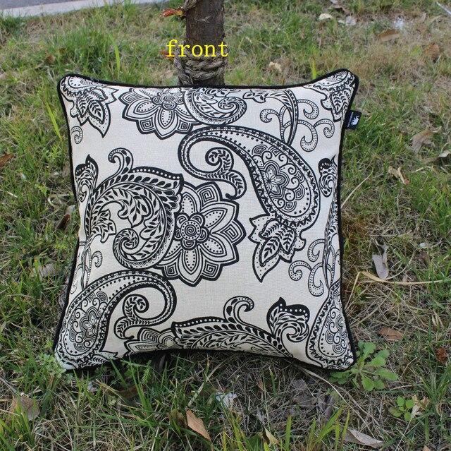 VEZO HOME New Printed Black Chevron Paisley Cotton Linen Sofa Cushions  Cover Throw Pillows Cover Pillow