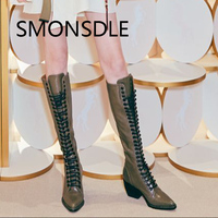 2018 New Spring Summer Women Genuine Leather Knee High Boots Pointed Toe Cross Tied Thick Heels Motorcycle Boots   Shoes   Woman