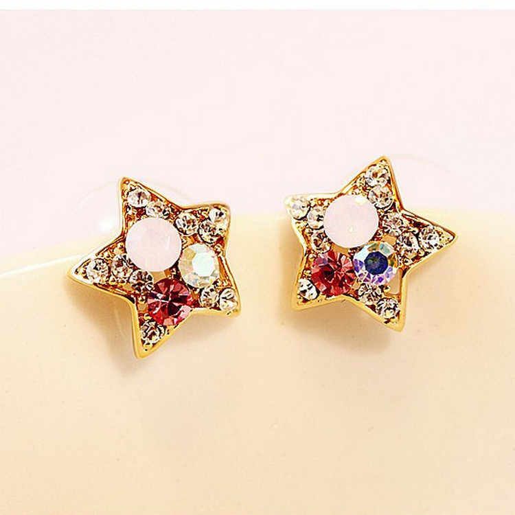 2017 New Fashion Women Starfish Earrings Geometric Star Colorful Crystal Stud Earrings For Women Party Gifts Boucle D'oreille