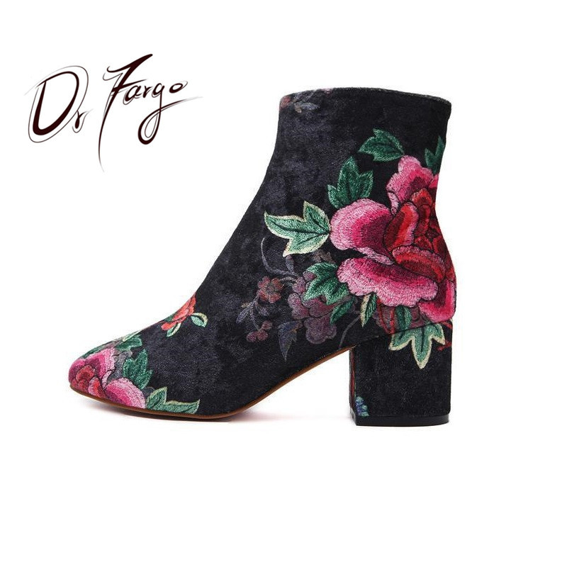 DRFARGO Fashion Woman Boots Sexy Elegant Round Toe Ankle Boots Zipper Flower Design Girls Causal Bota Feminina Block Winter shoe