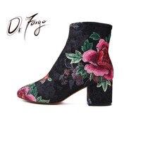 DRFARGO Fashion Woman Boots Sexy Elegant Round Toe Ankle Boots Zipper Flower Design Girls Causal Bota