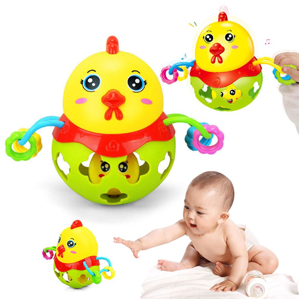 Beautiful Unique Design Colorful Baby Rattle Handbell Musical Instrument Rhythm Shake Toy For 0 - 12 Months Kids Chick Rattles