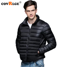 Covrlge 2018 Autumn Winter New Man Duck Down Jacket Ultra Light Thin Plus Size Jackets Men Stand Collar Outerwear Coat MWY001