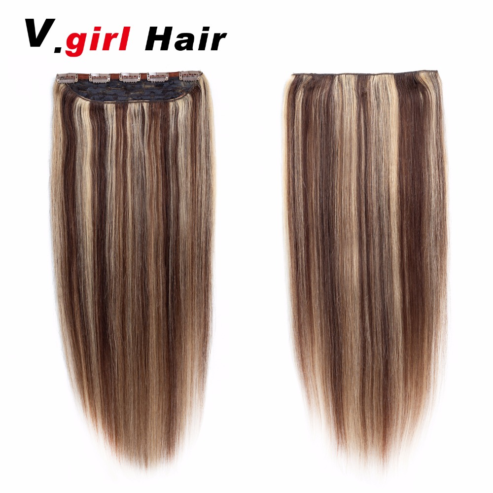 Hair Machine Made Remy Hair One Piece Set 5 Clips in 100% Human Hair Extensions 1pcs Hair Natural Straight