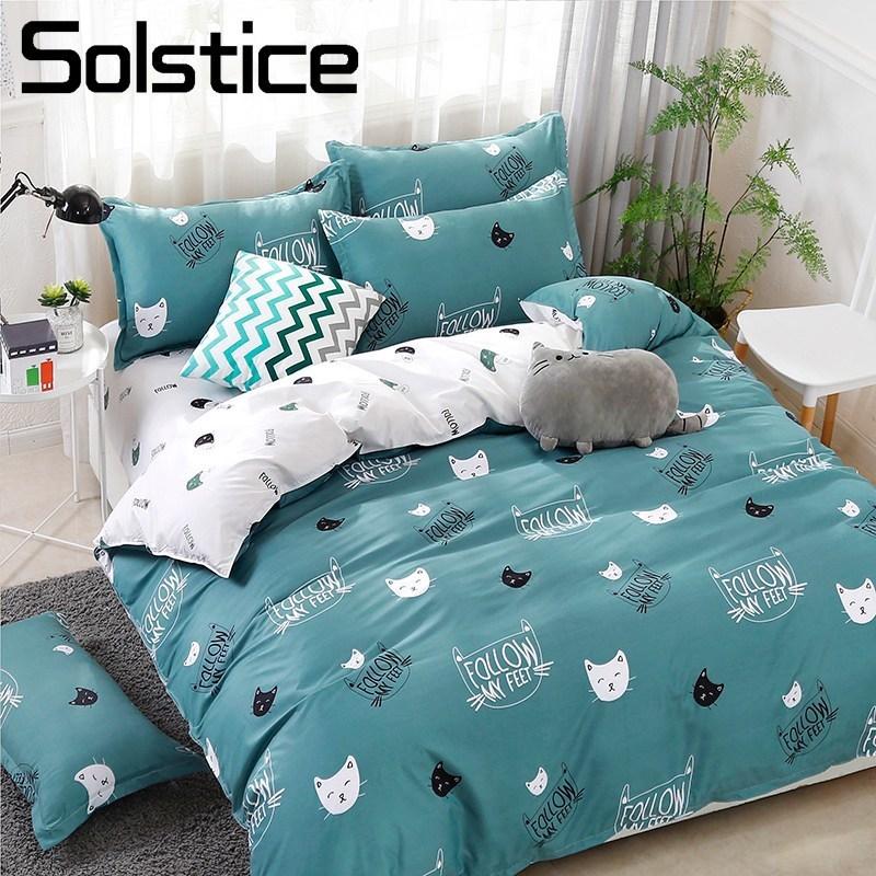 Solstice Home Textile Cyan Cute Cat Kitty Duvet Cover Pillow Case Bed Sheet Boy Kid Teen Girl Bedding Covers Set King Queen Twin