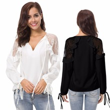 Popular summer European and American fashion new hot sale lace transparent stitching sexy long-sleeved womens chiffon shirt