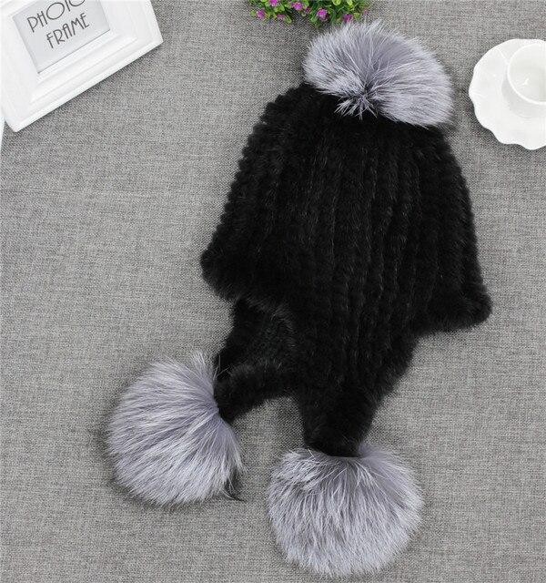 Luxury Women's Winter Real Mink Fur Knitted Fox Fur Pom Pom Hats Earmuff Caps