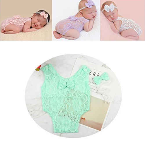Newborn Baby Girl Crochet Knit Costume Photo Photography Prop Hat Outfits Hot New Baby Lace Clothes Headband Photo Props 0 to 2M