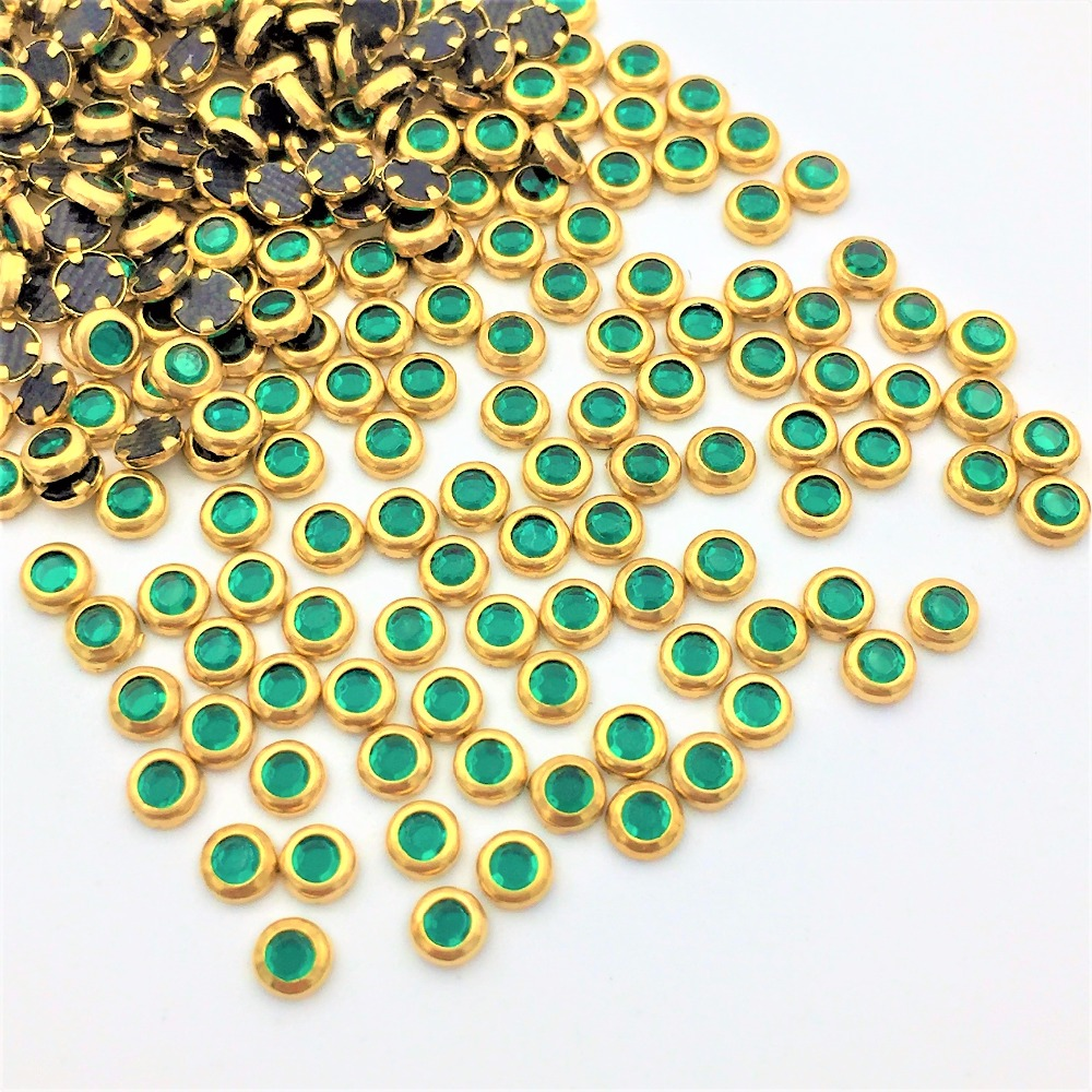 New Hot Sale Serging green colour SS10 1440pcs/Pack Glass Crystal Hotfix Rhinestones nail art iron-on garment glitter accessary