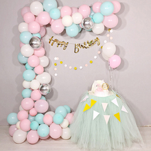 98PCS Balloons Mix Pastel Macaron 10 12 Garland Silver 4D Balloon Chain 5M Arch Decor Wedding Birthday Party