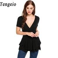 Tengeio Summer T Shirts Women T Shirts Front Cross Deep V Neck Short Sleeve Elastic Double