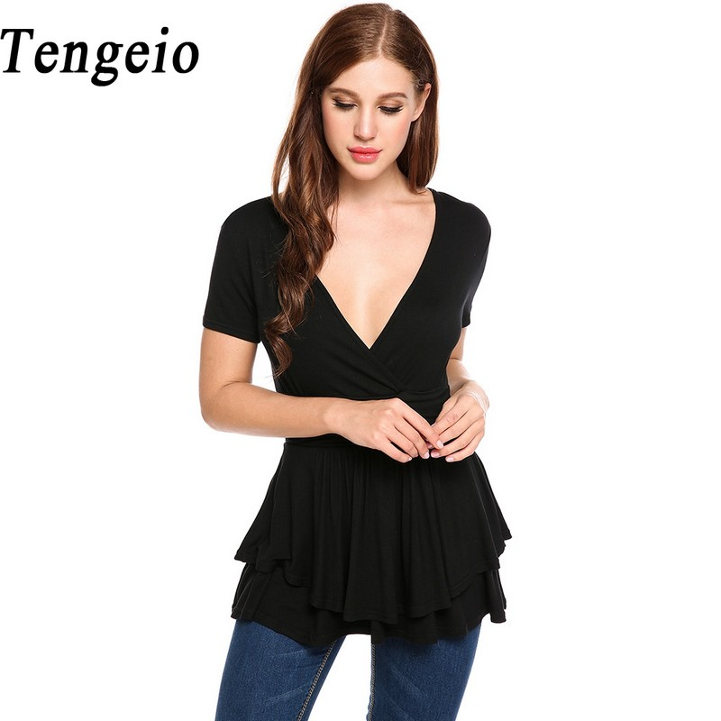 Tengeio Summer Wrap T-Shirts Women T Shirts Front Cross Deep V Neck Short Sleeve Double Layers Pleated Hem Cupcake Tops XXL 610